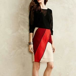 Anthro. Maeve - Colorblock Ruched Pencil Skirt